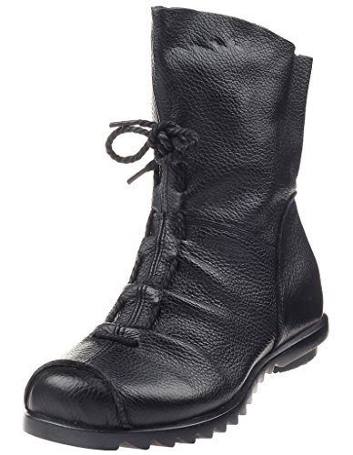 Mordenmiss Women's Side Zipper Leather Ankle Toe Cap Boot Style 2-Black-42 (Side Zipper compare prices)