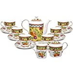 Royal Porcelain 15-Piece Antique Citrus Yellow Vintage Dining Tea Cup Set, Service for 6, Handmade & Hand-Painted, HQ Bone China