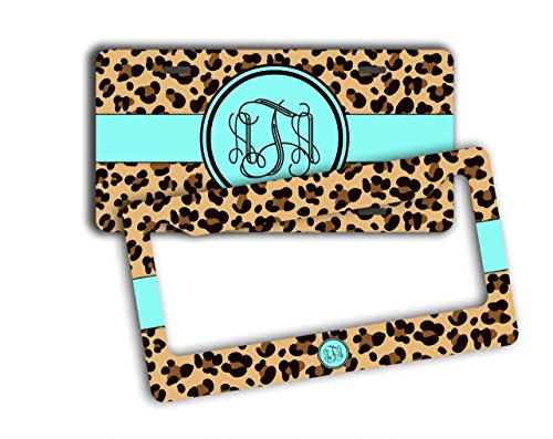 Monogram gift, license plate and frame [SET] - Cheetah pattern with light aqua - Personalized gift for teen girl (License Plate Frame Cheetah Print compare prices)