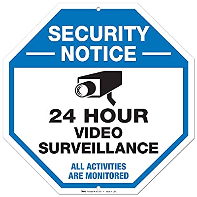 """Video Surveillance Sign, Large Rust Free 12x12"""" Aluminum, For Indoor or Outdoor Use - By ARMO"""
