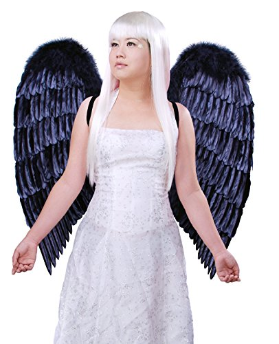 FashionWings (TM) XL Wingspan Black Costume Feather Angel Wings & Halo