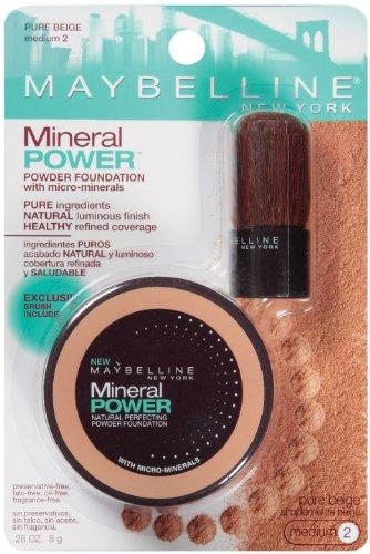 Maybelline New York Mineral Power Powder Foundation, Pure Beige, Medium 2, 0.28 Ounce
