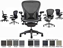 Hot Sale Herman Miller Aeron Chair Highly Adjustable with PostureFit Lumbar Support - Large Size (C) Graphite Dark Frame, Classic Dark Carbon Pellicle Mesh Home Office Desk Task Chair