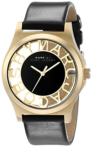 Marc By Marc Jacobs Henry Skeleton Gold Leather Watch - Mbm1246
