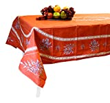 "Provence Tablecloth Valensole - 100% Coated Cotton - Made in France (Terracotta, Rectangular 98"" x 63"")"
