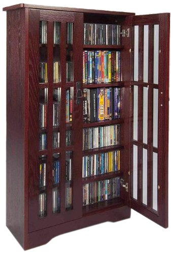 Leslie Dame M-371DC High-Capacity Inlaid Glass Mission Style Multimedia Storage Cabinet, Cherry (Media Cabinets compare prices)