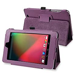 eForCity PU Folio Leather Skin Case Cover with Multi-Angle Stand for Google Nexus 7, Purple (PGOLNEXULC02)
