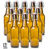 Estilo Swing Top Easy Cap Glass Beer Bottles, Amber, 16 oz, Set of 12