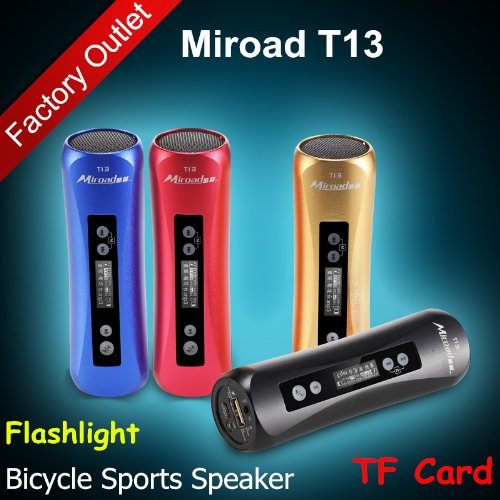 Miroad T13 7-In-1 Bicycle Sports Flashlight Hi-Fi Mp3 Speaker Subwoofer Mini Portable Tf Card Fm Radio Record Mobile Power Bank For Iphone Samsung Nokia Htc Mobile Smartphones