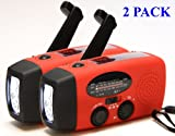 2-PACK HY-88E Emergency Dynamo Solar Self Powered AM/FM/WB(NOAA) Radio, Flashlight, Charger for Cell Phones: iPhone, iPad, iTouch, Android, Amazon Kindle, Smartphone, USB device