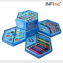 Infinxt Colors Box Color Pencil ,Crayons , Water Color, Sketch Pens Set Of 46 Pieces (Color & Cartoon Print May Vary)