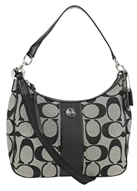 Coach 28681 Black & White Signature Stripe Convertible Hobo Handbag