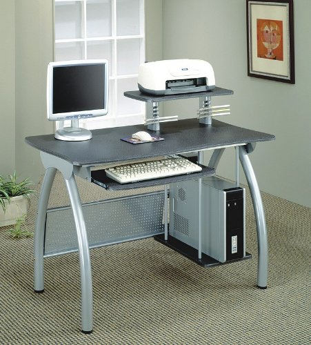 Buy Low Price Comfortable Modern Style Brushed Nickel Finish Computer Workstation (B003K5SB8K)