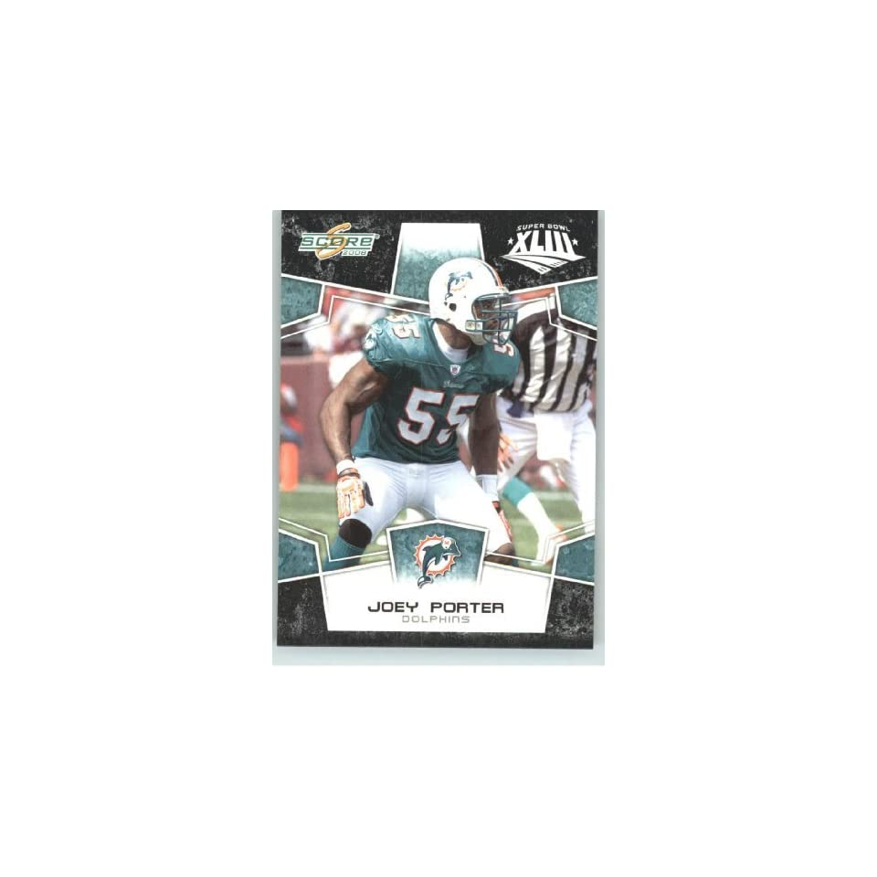 2008 Donruss / Score Limited Edition Super Bowl XLIII Black Border # 166 Joey Porter   Miami Dolphins   NFL Trading Card in a Prorective Screw Down Display Case