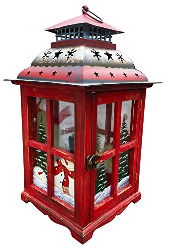 "Holiday Candle Holder Lantern with Hand painted Christmas Snowman Decorations - Glass, Wood, & Tin - X-Mas Decor - Handmade Keepsake (16"" Large, Red)"