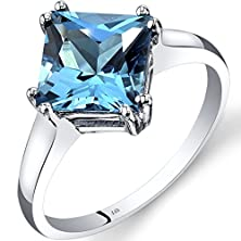 buy 14K White Gold Swiss Blue Topaz Solitaire Ring 2.75 Carat Princess Cut