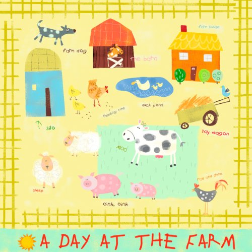 Oopsy Daisy A Day at the Farm Stretched Canvas Wall Art by Amy Schimler, 21 by 21-Inch