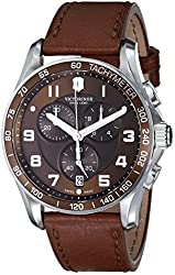 Victorinox Men's 241653 Classic Stainless Steel Watch with Brown Leather Band