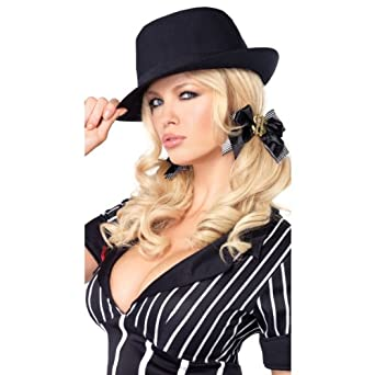Leg Avenue Adult Womens Black Gangster Fedora Pimp Costume Hat