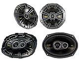 """2) New Kicker 40CS44 4"""" 300W 2-Way + 2) 6x9"""" 450W 3-Way Car Coaxial Speakers"""