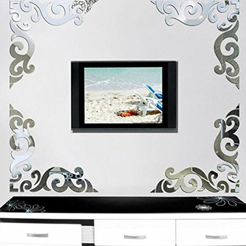 Kingko-1-Satz-Diagonal-Corner-Line-Acryl-Spiegel-Wand-Aufkleber-DIY-Fernseheinstellungswand-dekorativen-Aufkleber-Silber