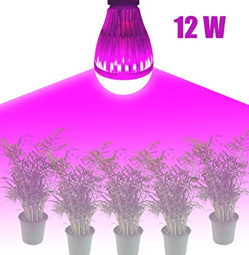 Grow lights for indoor plants led 12W bulb High Efficient large area E27 Growing Bulbs for Garden Greenhouse and Hydroponic Aquatic Plants Light Full Spectrum Growing Lamps GTaipe (12w) (Extra Large Greenhouse compare prices)