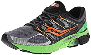 Saucony Men's Zealot ISO Running Shoe, Grey/Slime/Orange,10.5 M US