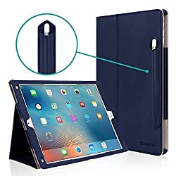 iPad Pro 12.9 Case [Corner Protection], CaseCrown Bold Standby Pro (Blue) w/ Apple Pencil Holder, Sleep / Wake, Hand Grip, & Multi-Angle Viewing Stand