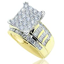 buy 2Ct Diamond Wedding Ring 3 In 1 Style 10K Yellow Gold 12Mm Wide(2 Cttw)