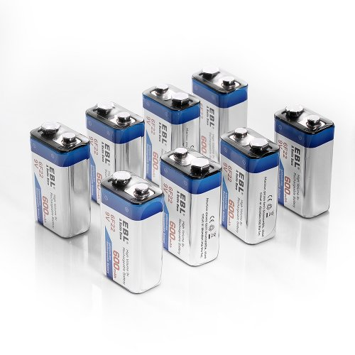 ebl 600mah 9 volt li ion rechargeable 9v batteries. Black Bedroom Furniture Sets. Home Design Ideas