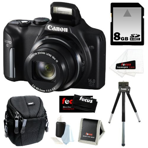 453ee64a5 Canon PowerShot SX170 IS 16MP Digital Camera with 16x Optical Zoom and  3-inch LCD in Black + 8GB SDHC + Compact Camera Case + Mini Tripod +  Accessory Kit