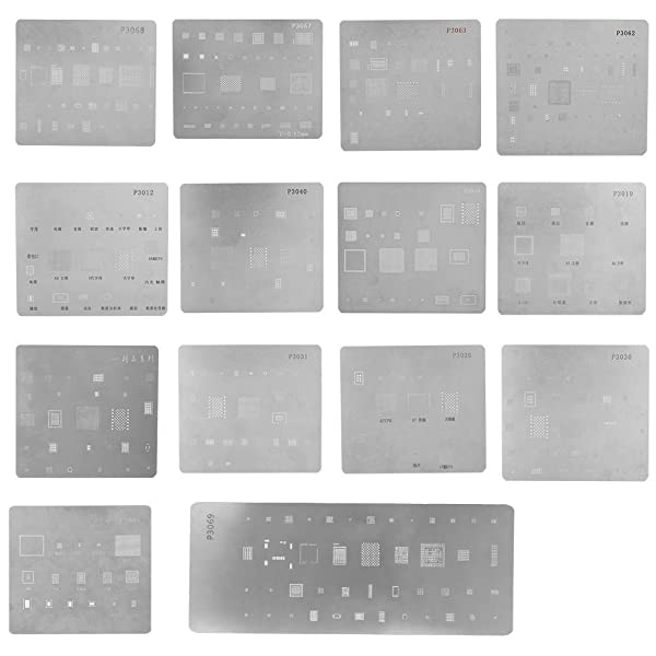 Zopsc 14PCS BGA Reballing Stencils Multi-Purpose High Precision IC Chipset Template for iPhone CPU Repair (Color: default)