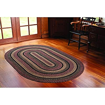 IHF Home Decor Blackberry Braided Oval Rugs Jute Fabric Plum with Black and Cream Color