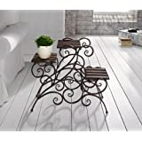 Antique Rustic Metal 3 Stairs Flower / Plant Stand Wood Trays Vine Patterns Product SKU: GD223601