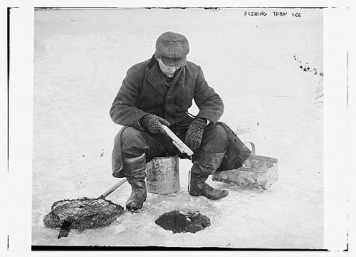 Photo: Fishing thru ice,ice fishing,man,hole in ice,basket,bucket,snow,1910-1915 (Ice Fishing Basket compare prices)