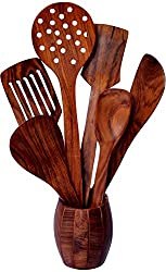 Woodenclave Proficio Wood 6 Cooking & Serving Spoon Set with Holder, 7- Piece