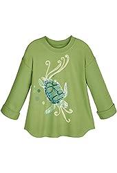 Women's Watercolor Sea Life Sea Turtle Crew Neck Sweatshirt