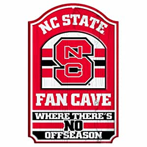 """NCAA North Carolina State Wolfpack 11-by-17 """"Fan Cave"""" Wood Sign"""