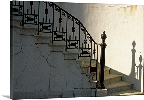 Julie Eggers Premium Outdoor Canvas Wall Art Print entitled Wrought iron railing and steps with shadow detail (Wrought Iron Railing For Steps compare prices)