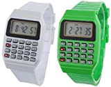 Pappi Boss Digital White Dial Kids LED Watch-Pack of 2 Calculator Watch
