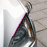 3D Car Eyelashes Headlight Lamp Auto sticker Pair with Pink crystal eyeliner