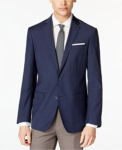 350-DKNY-Navy-Minicheck-Two-Button-100-Wool-New-Mens-Sport-Coat