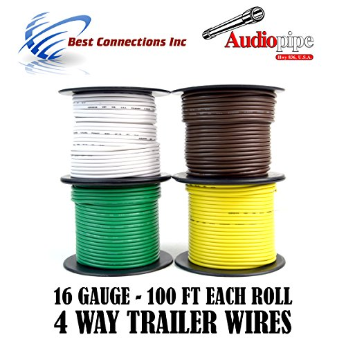 Trailer Wire Light Cable for Harness 4 Way Cord 16 Gauge – 100ft roll – 4 Rolls