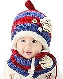 エフティーゾーン (Ftzone)子供用 ニット帽子&マフラー セット耳まであったかキャップ ベビー&キッズ 防寒 ニット帽 (濃紺)