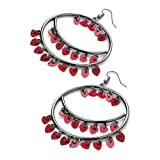 Drop Pierced Fashion Earrings Hematite & Red