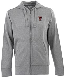 Texas Tech Signature Full Zip Hooded Sweatshirt (Grey) by Antigua