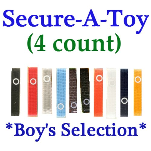 Baby Buddy Secure-A-Toy Strap - 4 count (BOY)