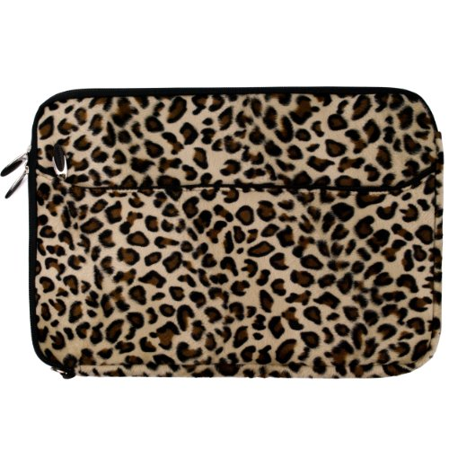 Brown Leopard Fur Covered Stable Neoprene Protective Laptop Sleeve Make up for for Sony VAIO S Series 15.5 inch Laptop Models SVS15113FXS / SVS151190X / SVS1511AGXB / SVS1511BFXB + SumacLife TM Perceptiveness Courage Wristband