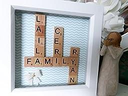 Personalised Family Tree Scrabble Tile Art Frame. Handmade Gift Hand Stamped Message White Box Anniversary, Birthday, Mum Dad Present