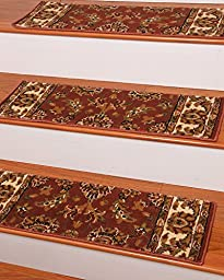 Sydney Carpet Stair Treads 9-inch x 29-inch Use Indoor, Easy to Install w/ Peel & Stick Strips Set of 13 Terracota Durable, Protects Stairs, Reduces Risk of Slipping